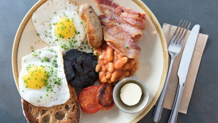 The full English breakfast on a plate.